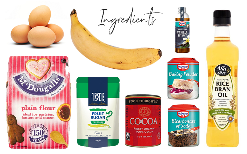 ingredients-for-banana-chocolate-steamed-cake